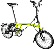 Brompton M Type 3 Speed/Mudguards in Lime/Black- In Stock