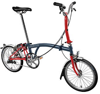 Brompton M Type 3 Speed/Mudguards in Tempest Blue/Red- In Stock