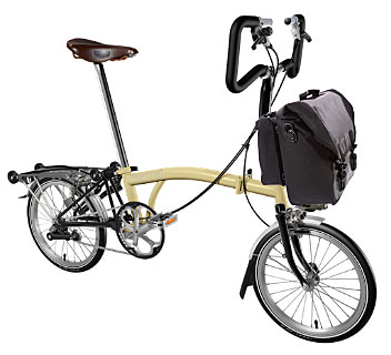 Brompton P Type 3 Speed/Mud Guards/Rear Rack Ivory/Black/Brooks Saddle/O'Bag - In Stock