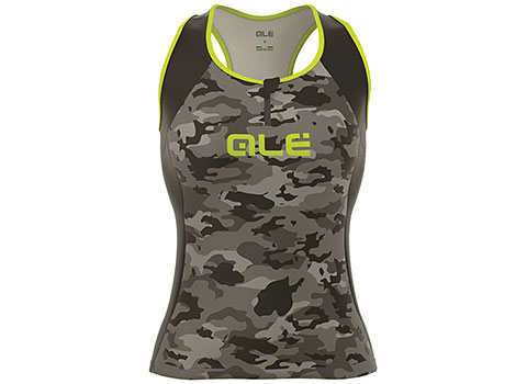 Alé Women's Excel Militare Sleeveless Top (Black/Fluo Yellow)