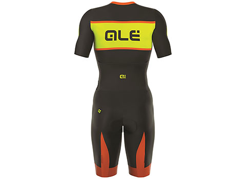 Alé Men's R-EV1 Strada Short Sleeve Race Suit (Black/Fluo Yellow/Fluo Orange)