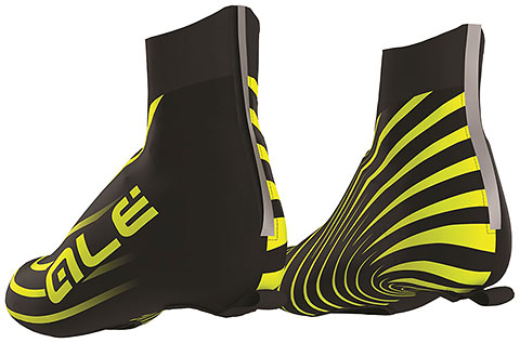 Alé Water Resistant Shoecover (Black/Fluo Yellow)