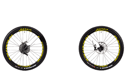 Five Factory Wheelset Black Hubs Yellow Rims