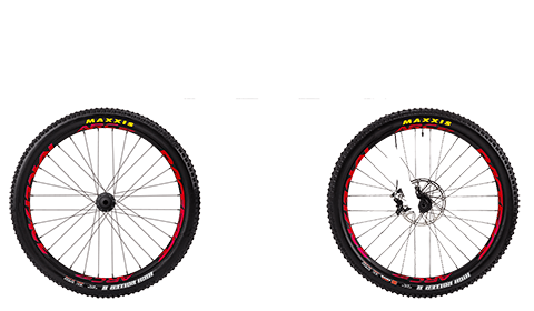 Four Factory Wheelset Black Hubs Red Rims