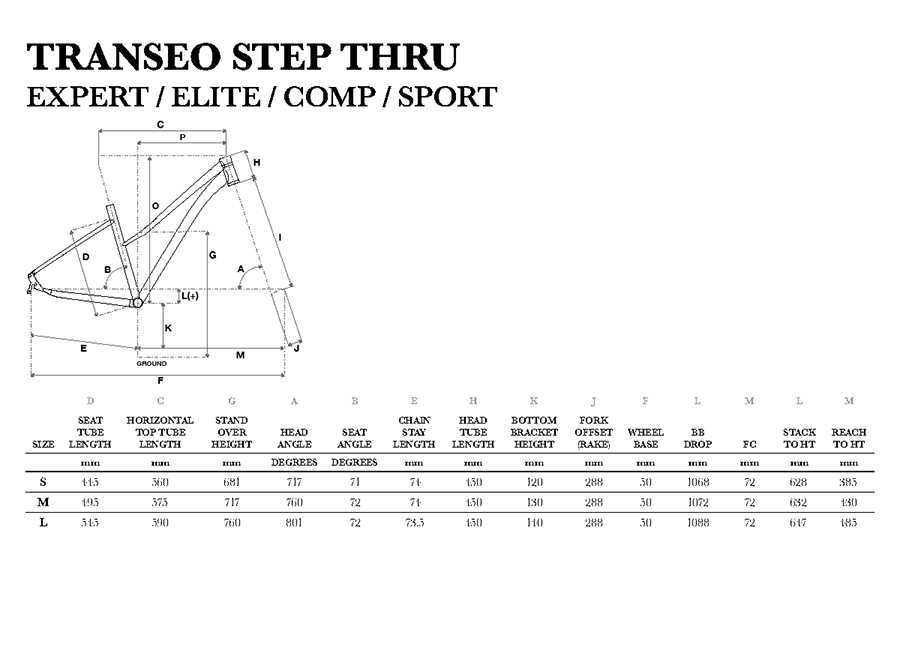 GT 2019 Transeo Step Thru Frame Geometry