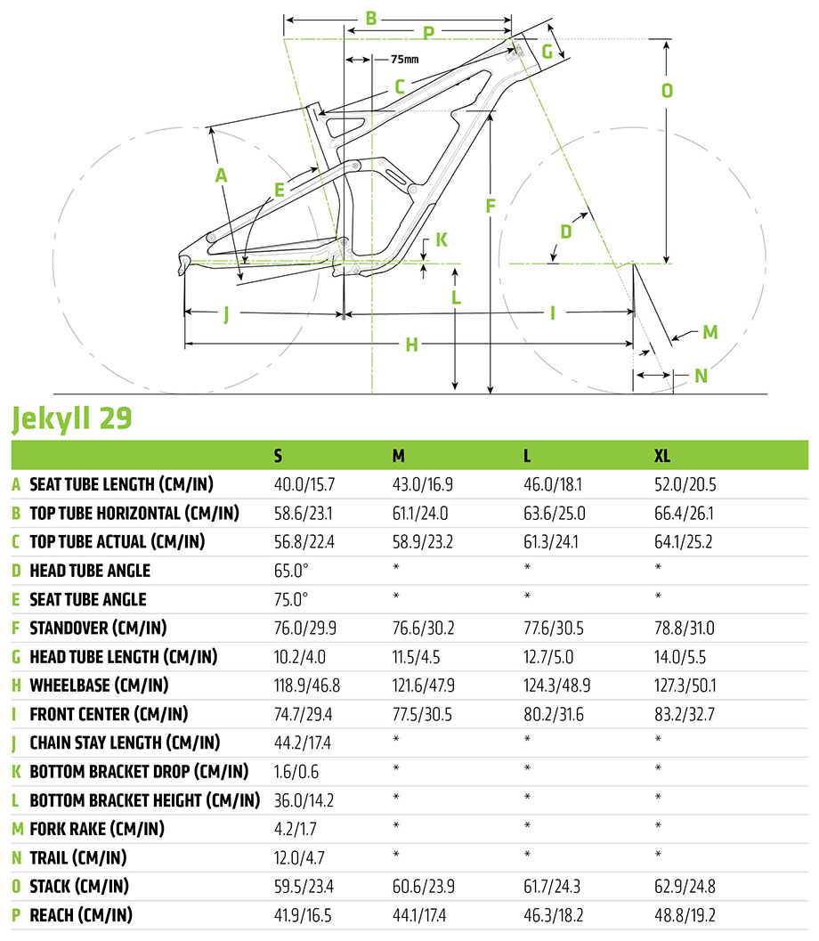 Cannondale 2019 Jekyll 29 Geometry and Size Chart