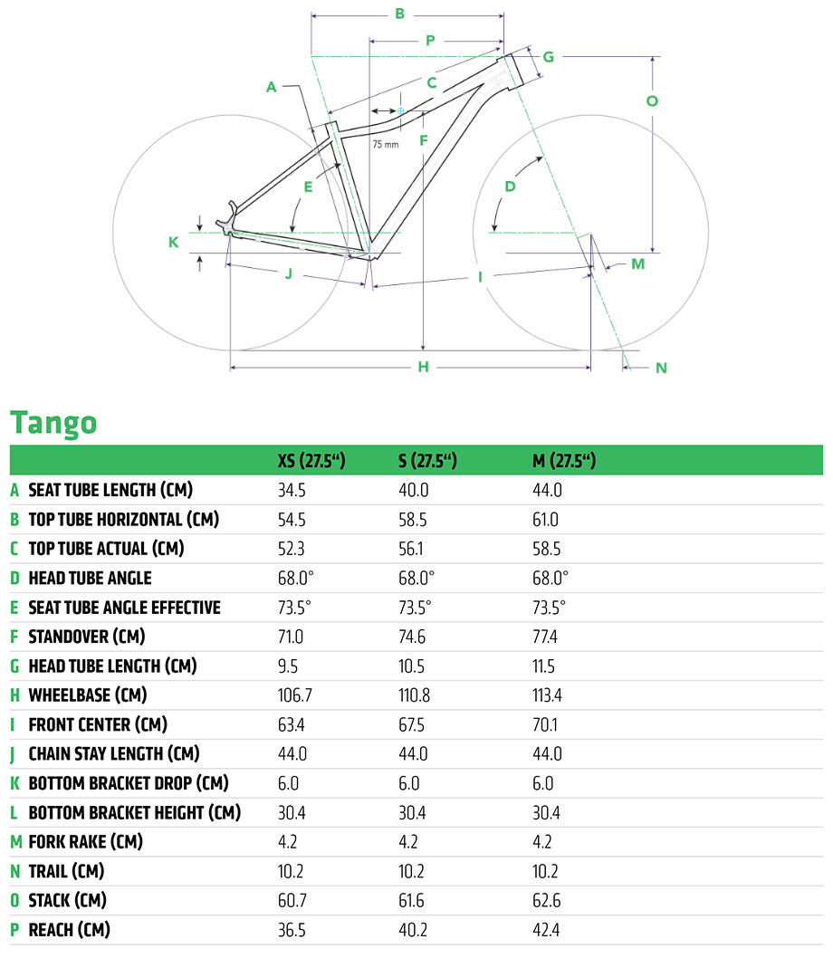 Cannondale Trail Tango Frame Geometry