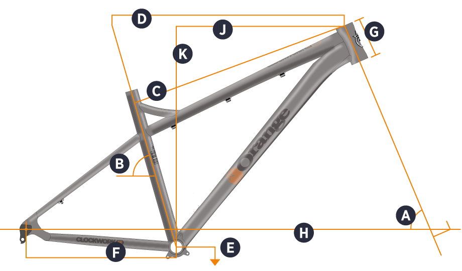 Orange 2019 Clockwork EVO 27.5 Frame Geometry