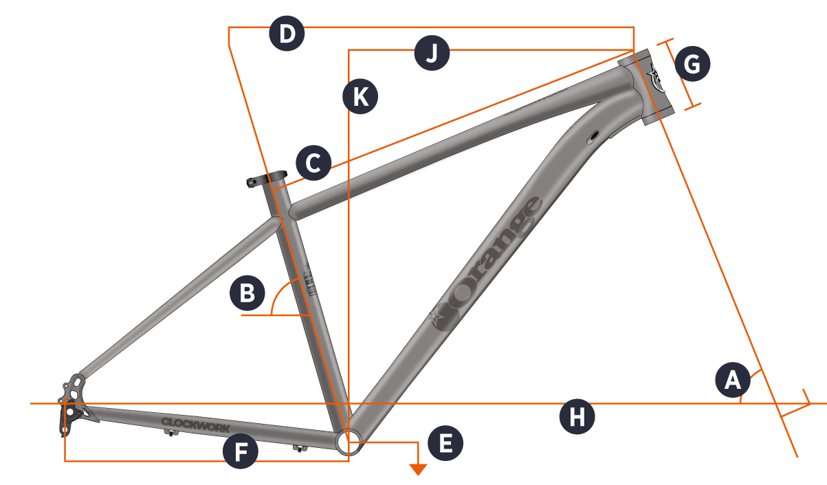 Orange 2019 Clockwork 27.5 Frame Geometry