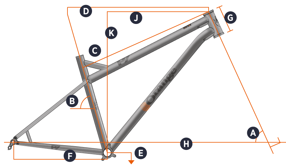 Orange 2019 P7 27.5 Frame Geometry