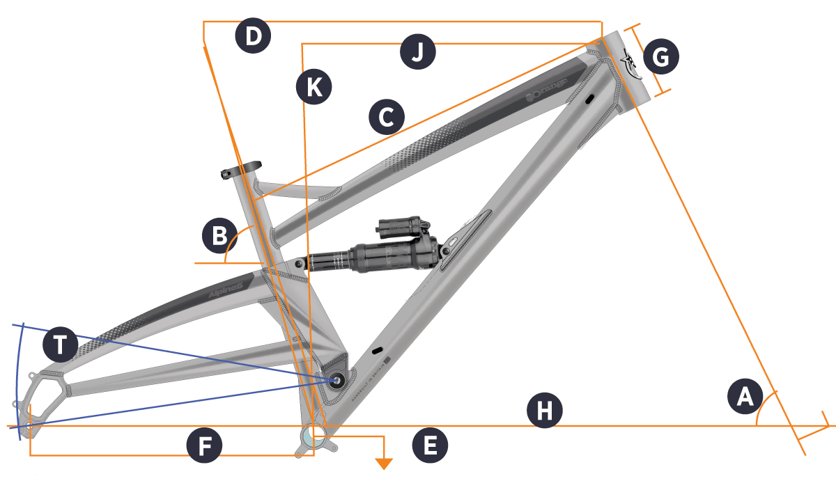Orange 2021 Alpine 6 Frame Geometry