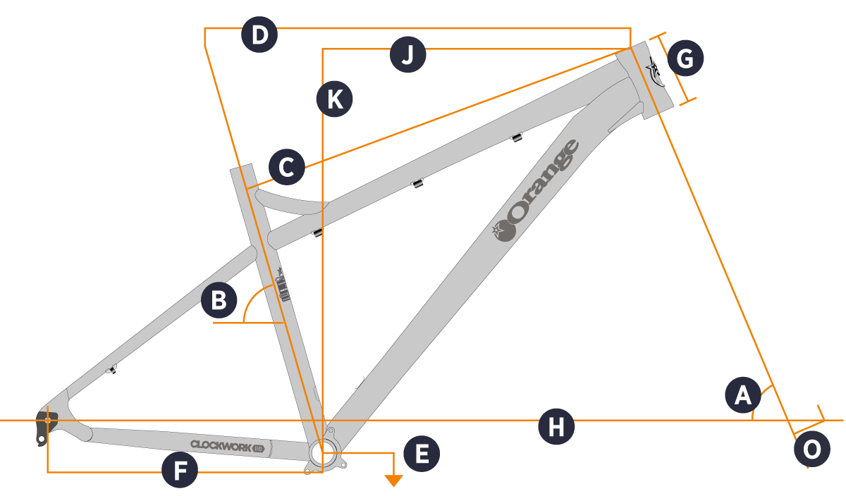 Orange 2021 Clockwork EVO 29 Frame Geometry