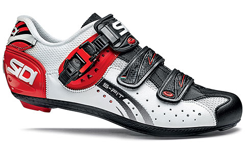 Sidi Genius 5-Fit Carbon Road Cycling Shoes (White/Black/Red)